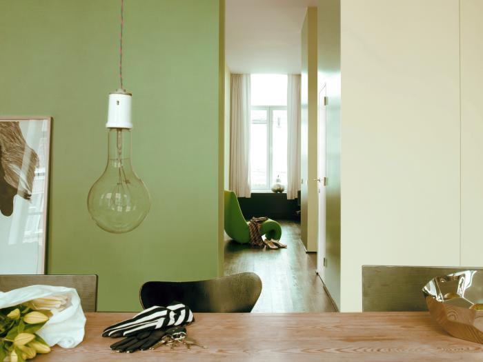 grön vägg tulpaner glödlampa